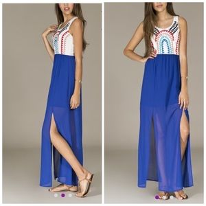Jealous Tomato White & Blue Sheer Maxi Dress
